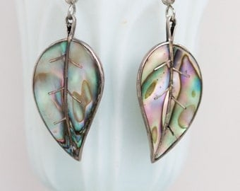 Mother Of Pearl Leaves Earrings - Sterling Silver and Abalone Seashell Dangle Earrings - Vintage Boho Jewelry