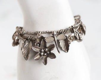Flowers and Dragonfly Bracelet - Summer charms Bracelet - Boho Jewelry