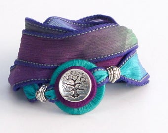 Springtime Tree of Life, Whirly Wrap, Silk Ribbon Wrap Bracelet, turquoise, violet emerald, silver Tree of Life button, secure magnet,