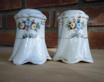 Nippon Salt & Pepper Shakers, Vintage Hand Painted Nippon, Yellow/Blue Floral Salt/Pepper Shakers, White Porcelain Salt/Pepper Shakers, Gift