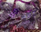 Purple Lavender Lace Combo, Beaded Trim, Ribbon ,Flowers, Embellishments