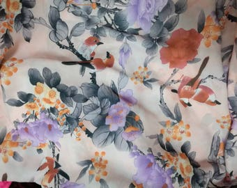 """last 2 yards 59""""width chinese folk lavender and orange red flowers magpie bird naked pink chiffon no flaw"""