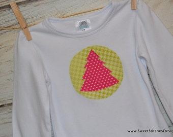 Christmas Tree Girl Shirt Ruffle Shirt - Pink Holiday Girl Shirt Pink and Gray Girl Shirt Shirt Girl Holiday TShirt