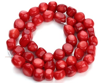 8pcs-Red Coral gemstone irregular beads