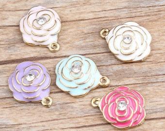 4pcs-Rose flower charm with Crystal-enamel rose Charm