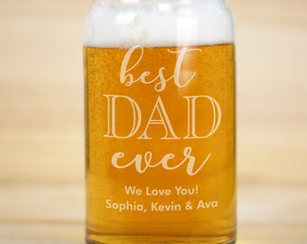 Engraved Best Dad Ever Beer Can Glass, father's day gifts, gifts for him, dad, beer glass, bithday gift, beer lover, engraved -gfyL11552118