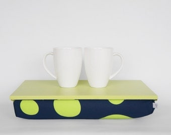 Breakfast tray with pillow, lapdesk - light green tray, blue with bright green XL irregular polka dot print pillow