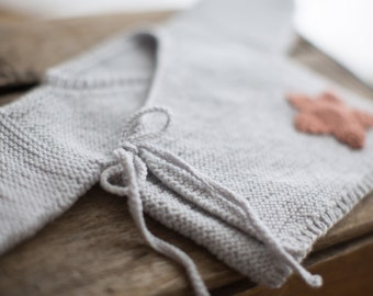 PDF KNITTING PATTERN The Star Wrap baby kimono jumper pattern newborn to 6 months sizes