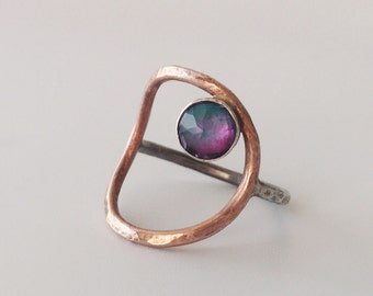 peacock open circle ring, rose gold fill, magenta blue faceted quartz, mermaid, unicorn jewelry, negative space, two tone, colorful jewelry