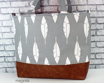 Extra Large Lulu Tote Overnight Diaper Bag- Grey Feathers and PU Leather -  READY to SHIp Dance Travel School Bag