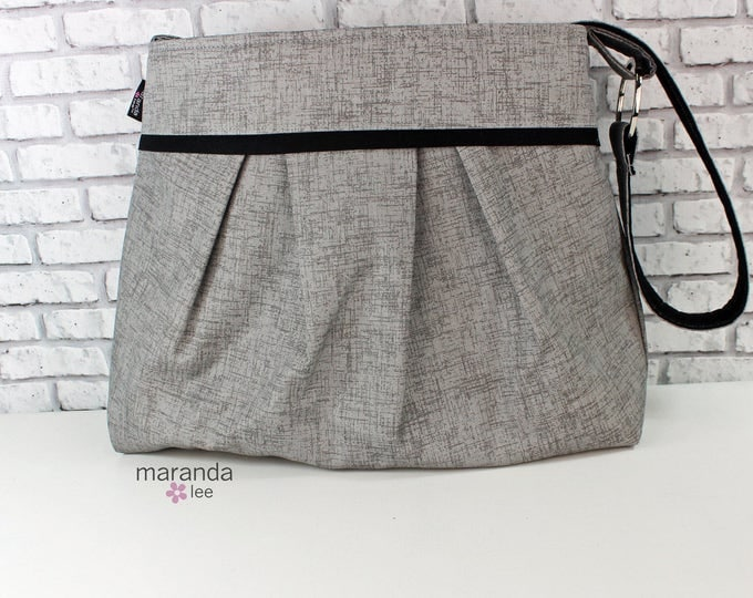 Diaper Bag - Stella Large - Grey Denim with Black - READY to SHIP Nappy Bag Stroller Attachment