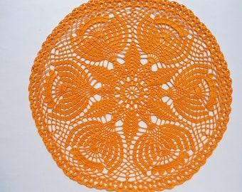 """Orange crochet doily, orange lace doilies, crochet centerpiece, large doily, 17"""""""