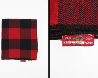 Vintage 70s Marlboro Wool Blanket Red Buffalo Plaid Throw Country Store Red and Black