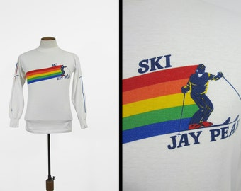 Vintage 80s Ski Jay Peak Shirt Vermont Skier Resort Long Sleeve Pullover Made in USA - Small