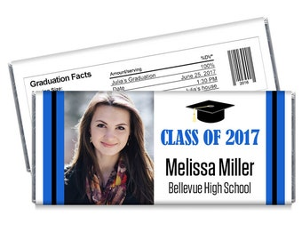 We print. Set of 12 - Class of 2017 Personalized Photo Graduation Candy Bar Wrappers - Match school colors - Great Graduation Favors