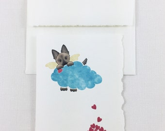 "Dog ""Doggie"" Heaven - German Shepard, Brown Dog - Pet, Dog, Loss, Death, Sympathy, Card - Greeting Card - Show your sympathy with this card"