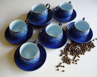 Vintage Denby, Coffee Cups and Saucers, Blue Stoneware, Set of 6, Midnight, Round Cup, Red and Blue Flowers, Pale Blue Inside