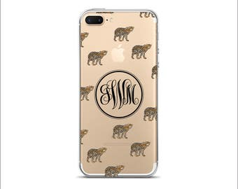 Personalized Monogram Leopard Clear transparent case iPhone 7 Plus iPhone 7 iPhone 6/6S iPhone 6 Plus iPhone 5/5S iPhone SE