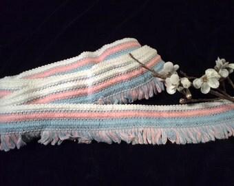 Vintage  Pink, Blue and White Cotton Fringed Striped Baby Blanket  Edging, Vintage  Baby Nursery, Vintage Child's Blanket Edging