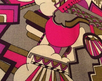 Vintage MOD Ivory With Fuchsia Abstract Print Fabric, Vintage Textiles,  Seventies Fabric