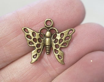 10 Metal Antique Bronze Butterfly Charms - 20mm