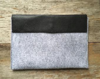 """iPad / 11"""" Mac Air Case - Repurposed Black Leather and Felt"""