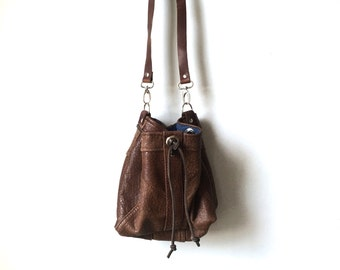 Bucket Bag - Repurposed Butterscotch Leather