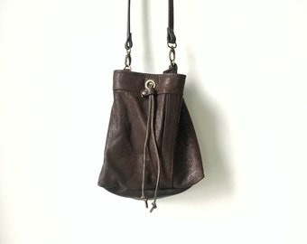 Bucket Bag - Repurposed Dark Brown Leather