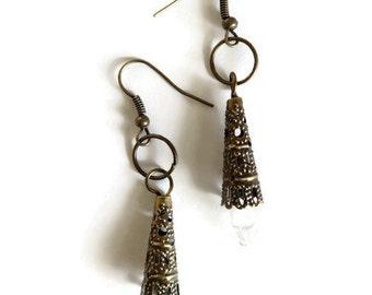 Amber Tinged Light Bulb Earrings