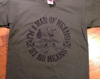 JOHNNY APPLESEED tee black ink on military green 100% american made bayside shirts half profits to EDF