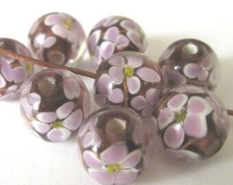 Purple Flower Beads -  E147B