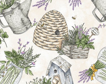 Thyme With Friends - Gathered Herbs Cream by Kris Lammers from Maywood Studio