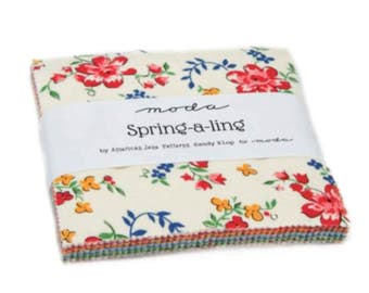 Spring A Ling Charm Pack - 42 Five Inch Squares by American Jane from Moda
