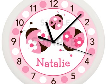 Pink Ladybug Girls Personalized Nursery Wall Clock