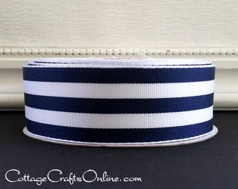 "Wired Ribbon, 1 1/2"", Navy Blue and White Stripe - SIX YARDS - Offray ""Carnival"", #70519 Grosgrain Style Nautical, Striped Wire Edged Ribbon"