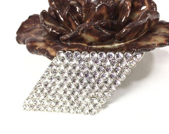 Vintage Clear Pave Rhinestone Brooch, Diamond Shape, 1960's Silver Pin, Scarf, Hat Pin, Gift Idea, Excellent