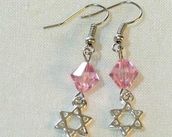 Star of David Earrings - Pink Swarovski Crystal