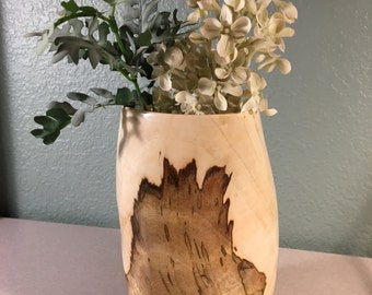 Natural Exotic Wood Turned Vase from Brazilian Pepper