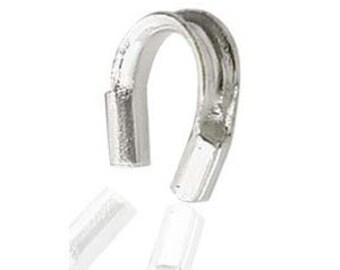 Silver Wire Guard, 4x4mm, Silver Wire Protector, Horseshoe Wire Guard, 4mm Silver Wire Guard, 4mm Silver Wire Protector, Silver French Wire