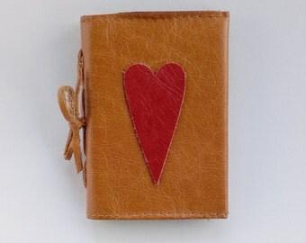Leather needlecase, tan leather needleholder, red heart leather needlebook, pin cushion