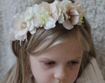 Cream silk Flowers Headband,little girls headband, elastic headband