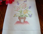 Floral Embroidered Towel Vintage Linen Kitchen Towel Colorful Flowers