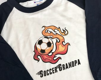 Soccer Grandpa Personalized Raglan T-Shirt Soccer Flames with Flame Font