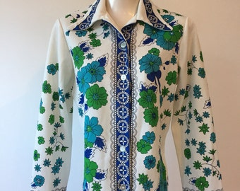Gorgeous 1960s vintage polyester blouse.