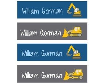 FAST SHIPPING! Iron On Name Labels, Clothing Tags, Fabric Labels, Clothing Name Labels, School Labels, Daycare, Camp, Boy, Construction