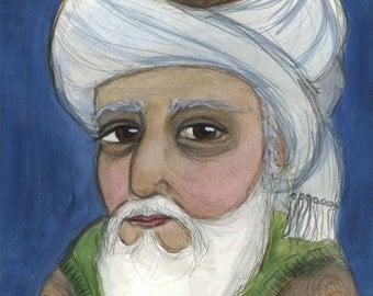 Rumi Writers Portrait, Poet Illustration, Literary Art, Rumi Print, (6x8) Sufi Mystic Illustration