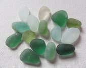 Reserved JACQULINE Riverbed colours sea glass mix - 15 seafoam and green frosted shards found in England
