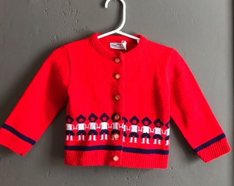Bright Red Vintage Girls Cardigan by Sears