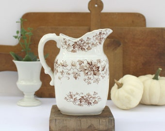 Ironstone Milk Pitcher Brown Transferware - Antique English Ironstone - JHW & Sons Hanley - c. 1900 - Edgevale - Semi Porcelain - Floral