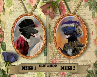 Flat Coated Retriever Jewelry. Retriever Pendant or Brooch. Retriever Necklace. Flat Coated Retriever Portrait. Custom Dog Jewelry.